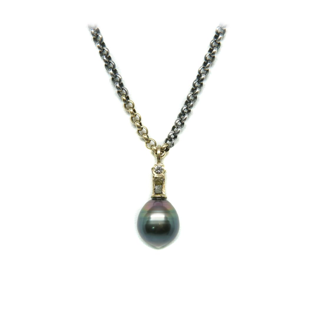 collar oro y plata Tahiti diamantes