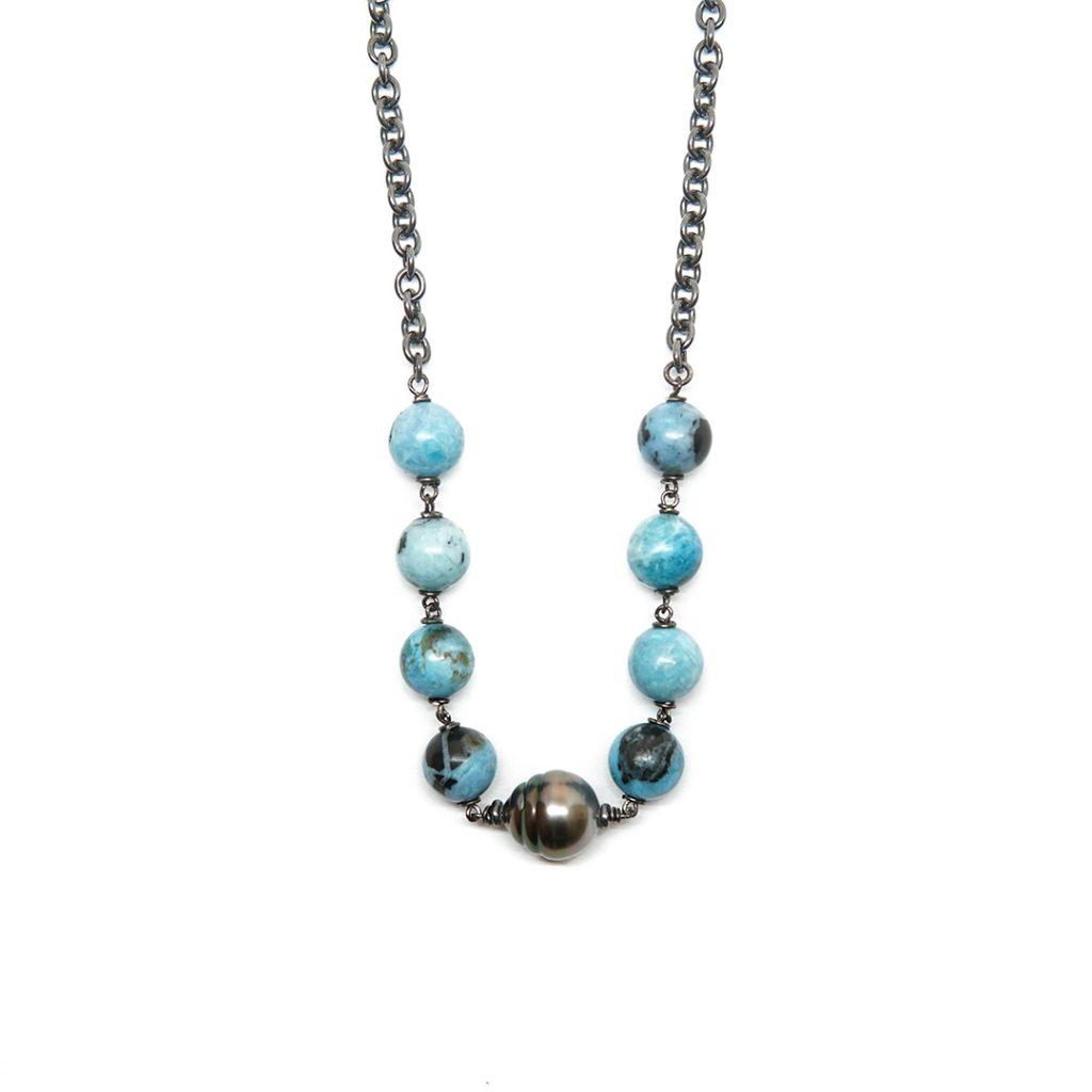 Collar de amazonita y perla tahiti