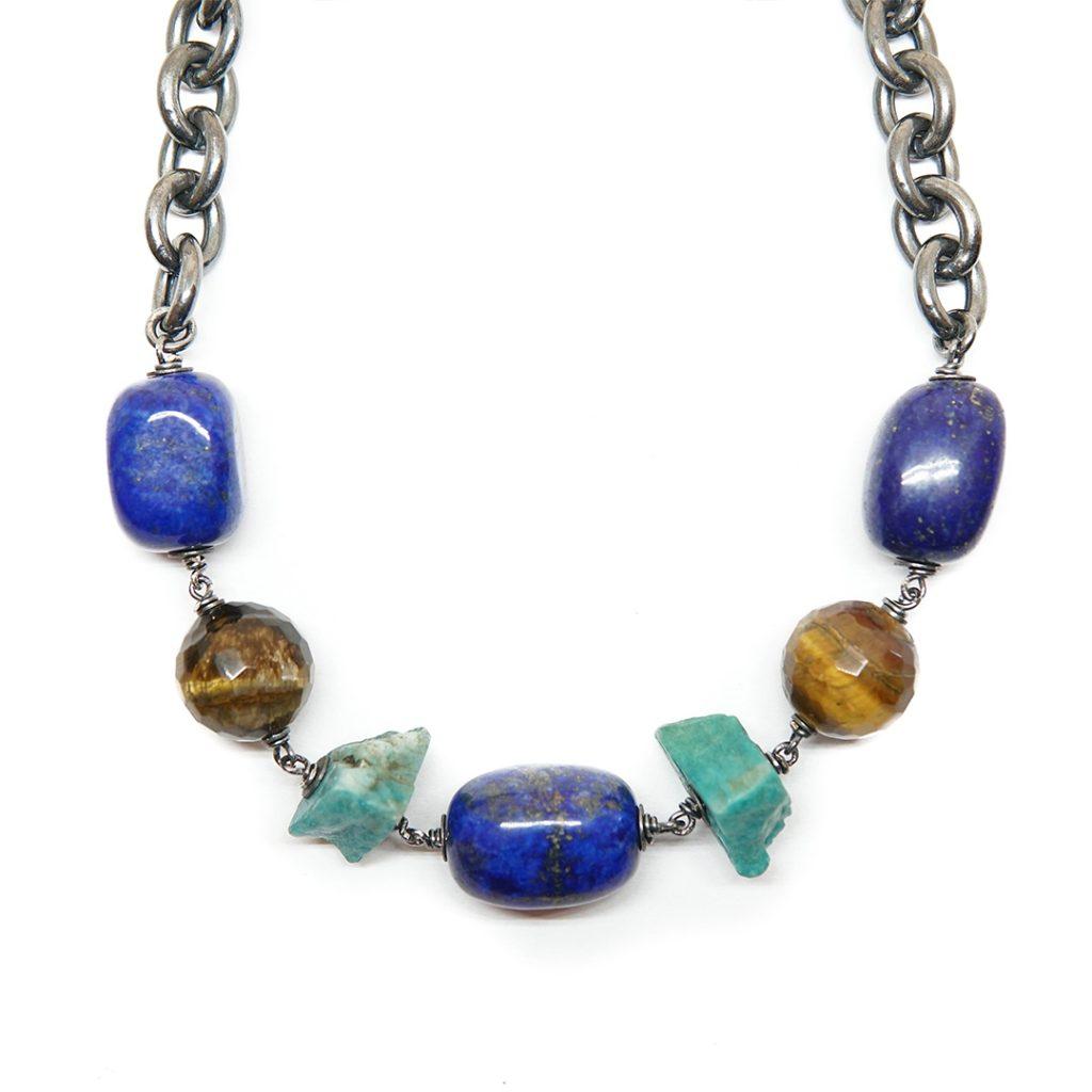 Collar de plata con laspislázuli, amazonita en bruto y, ojo de tigre