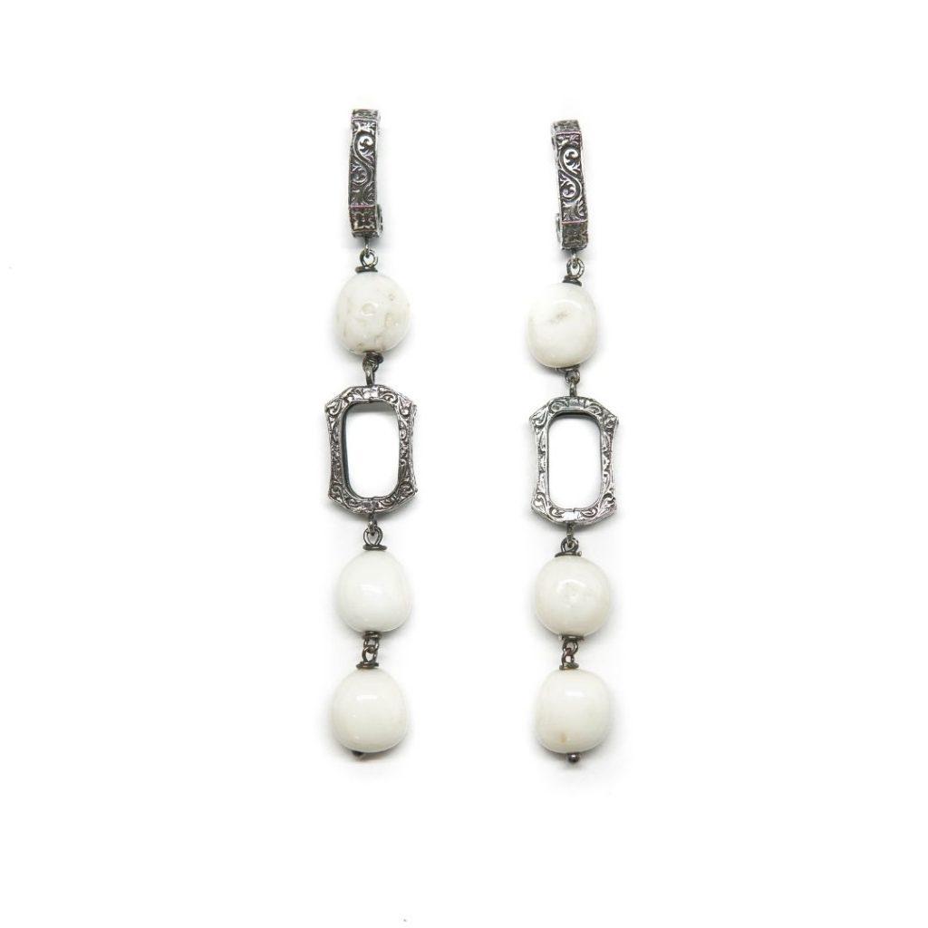 Drop White Coral Earrings