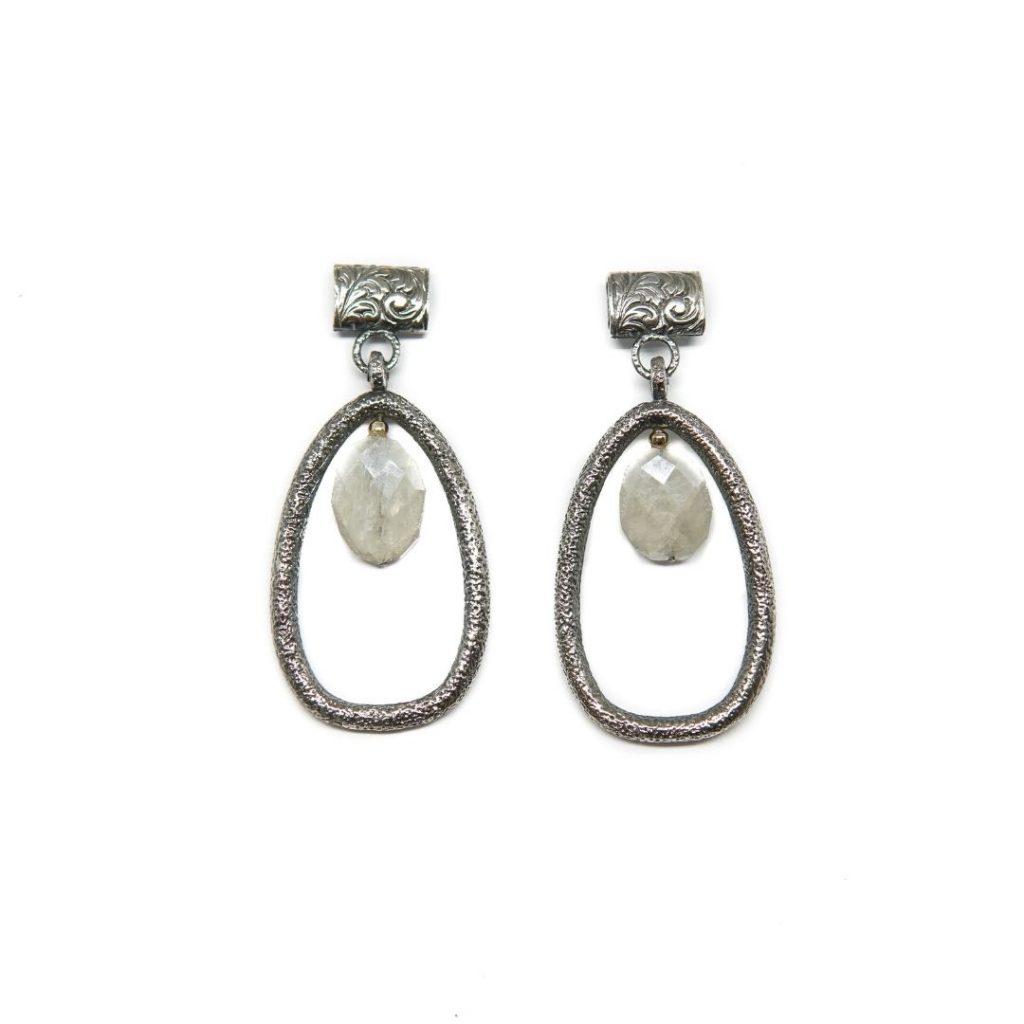 Teardrop Silver and Silverite Earrings