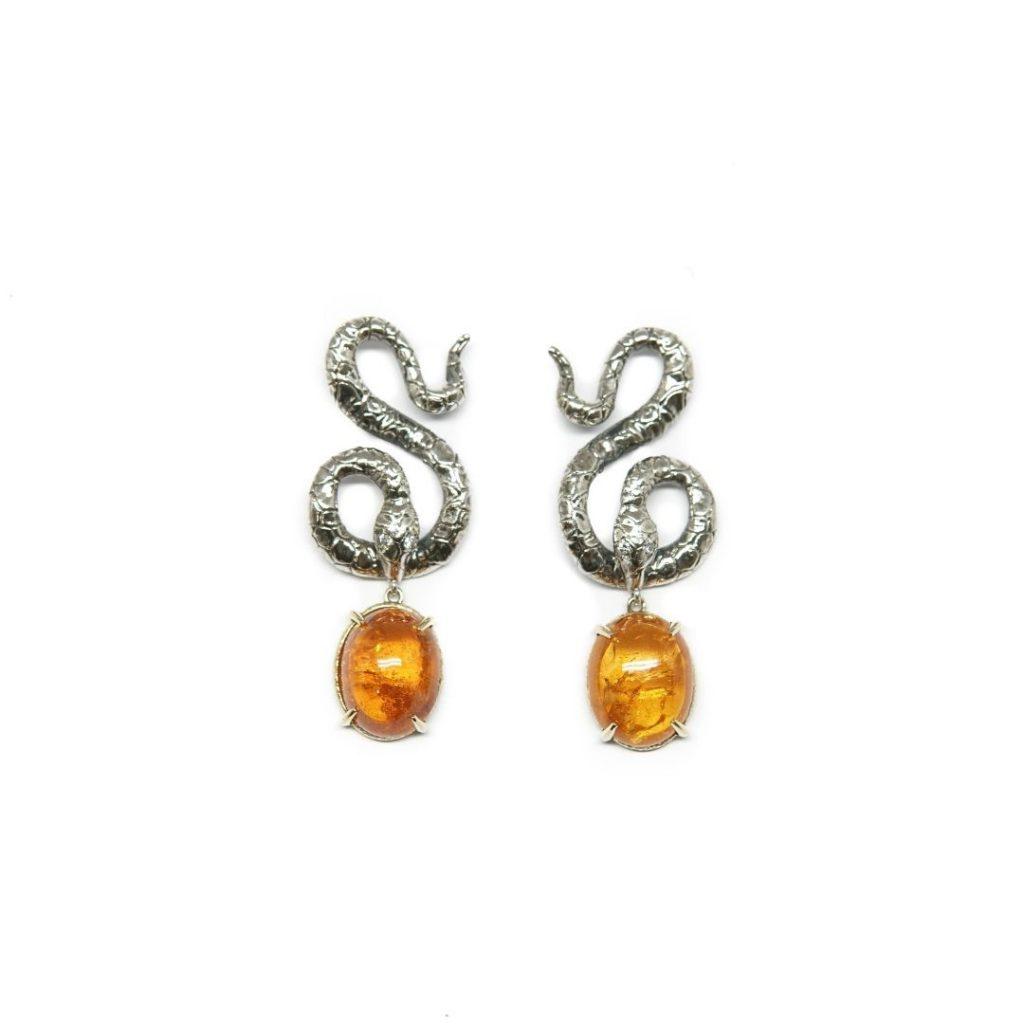 Drop Mandarin Garnet Snake Earrings