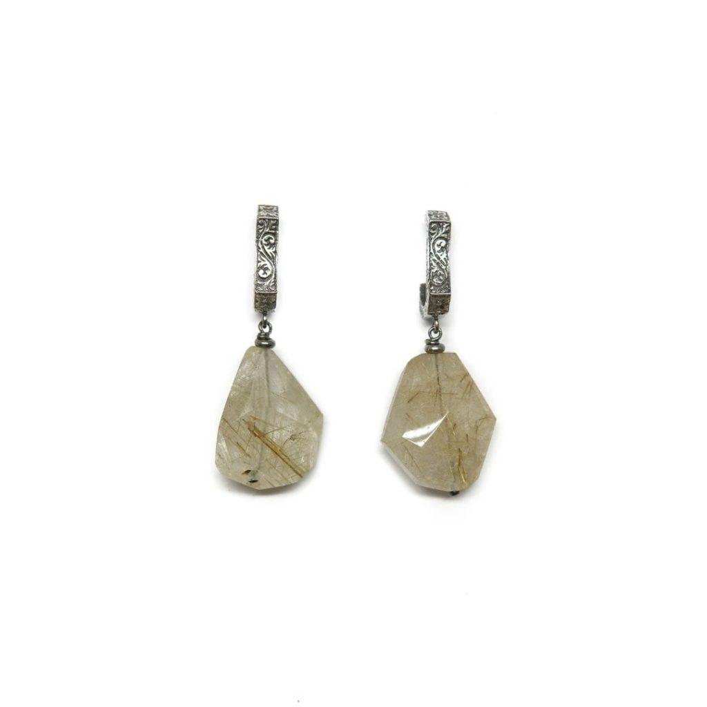 Drop Silver and Rutilated Quartz Earrings