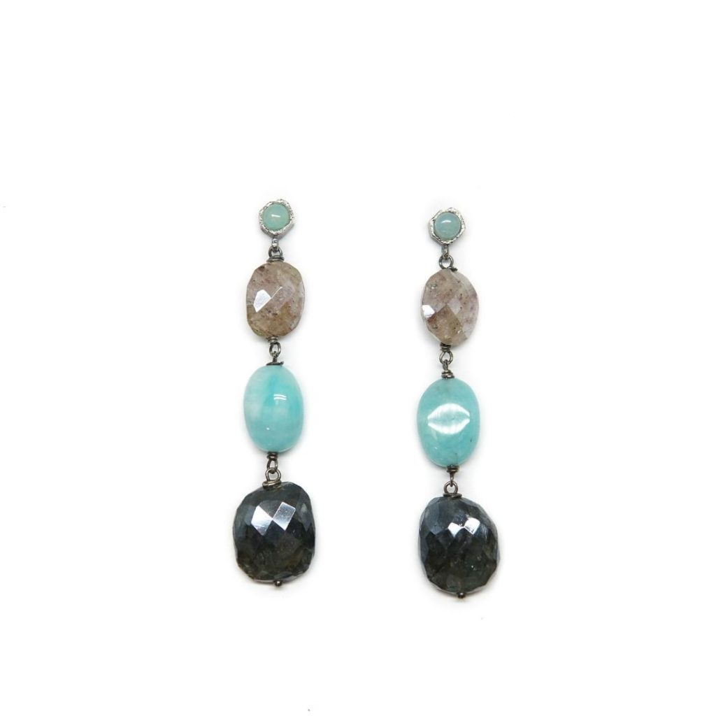 Drop Amazonite and Silverite Earrings