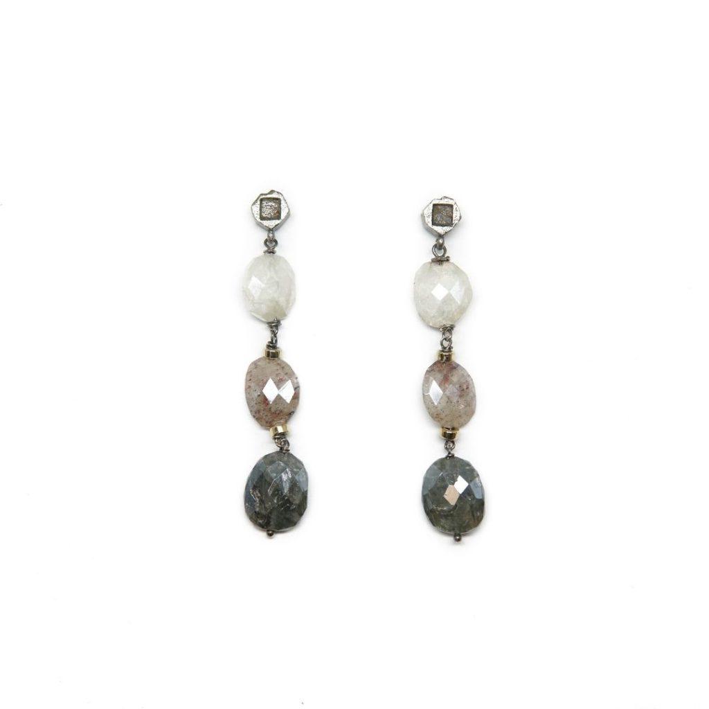 Drop Silverite and Congo Cube Diamond Earrings