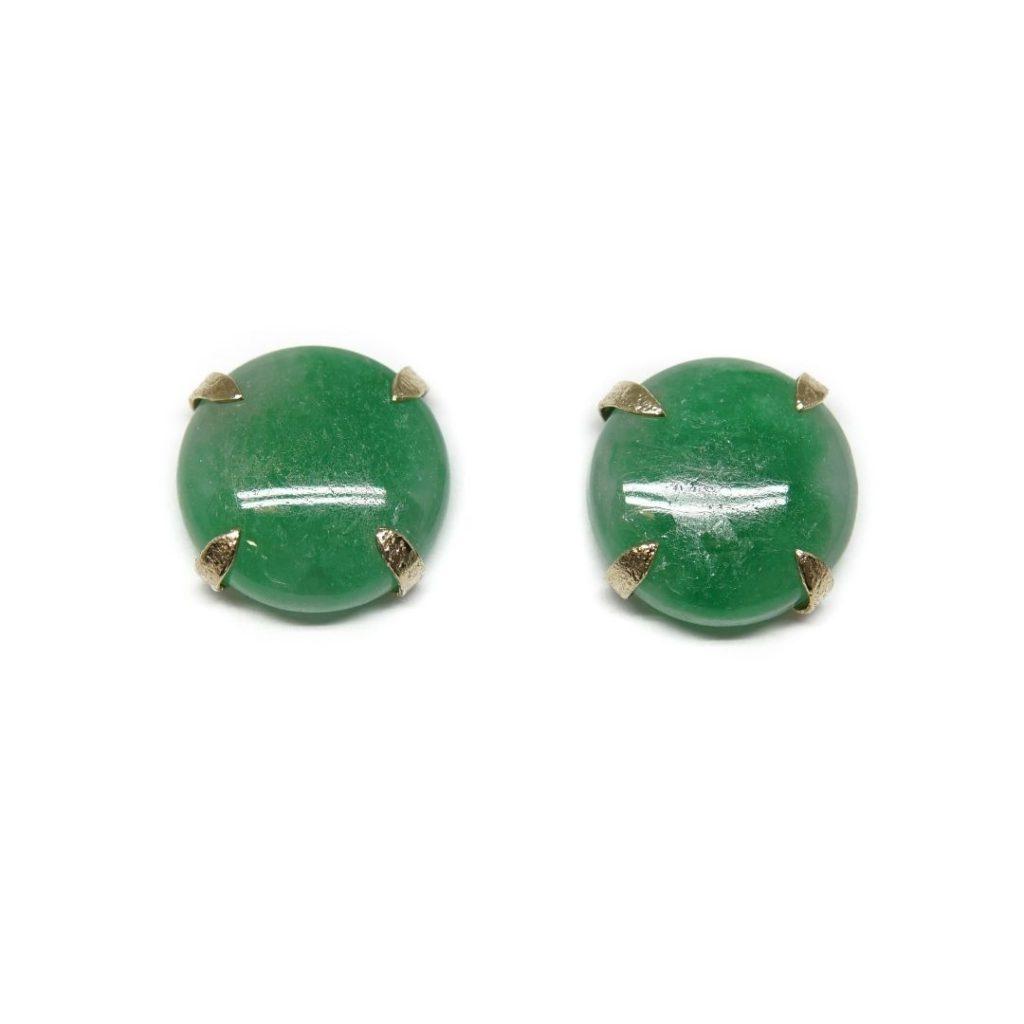 Stud Gold and Jade Earrings