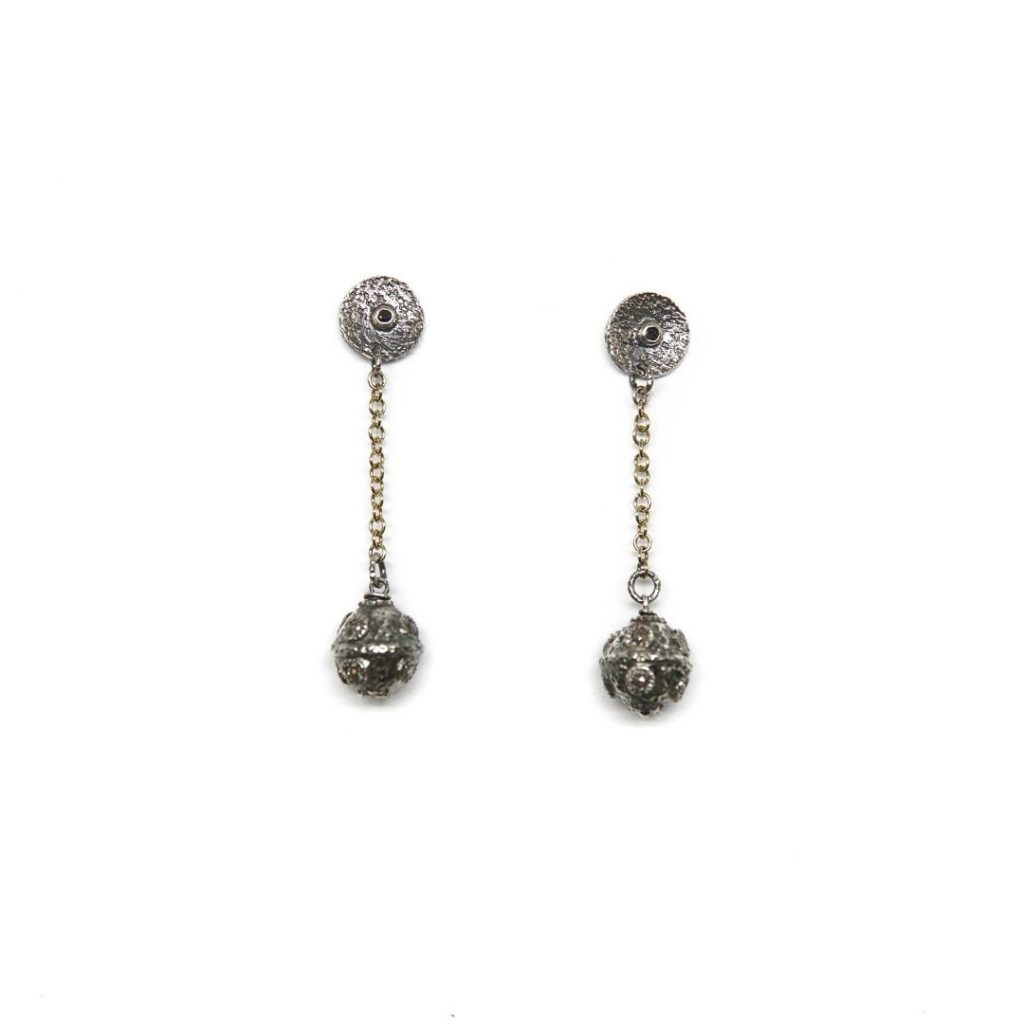 Drop Spinel and Diamonds Earrings