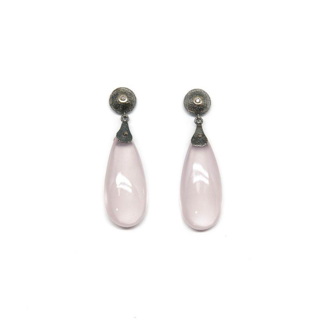 Drop Diamond and Rose Quartz Earrings