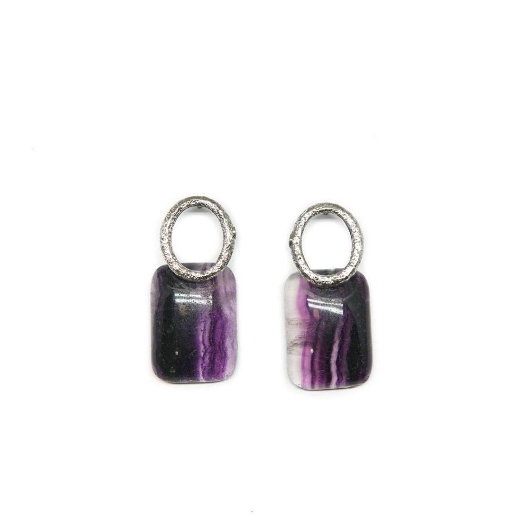 Drop Silver and Fluorite Earrings