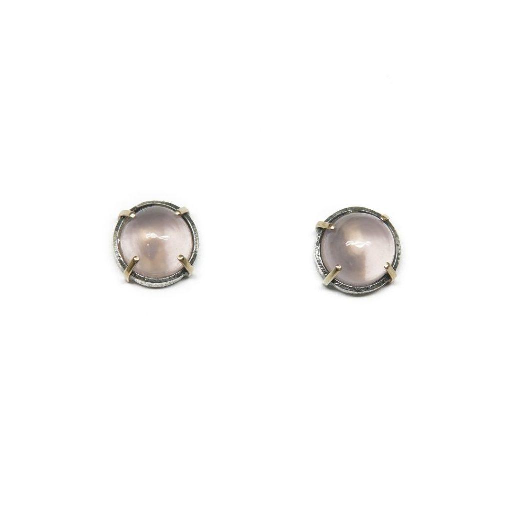 Stud Silver and Rose Quartz Earrings