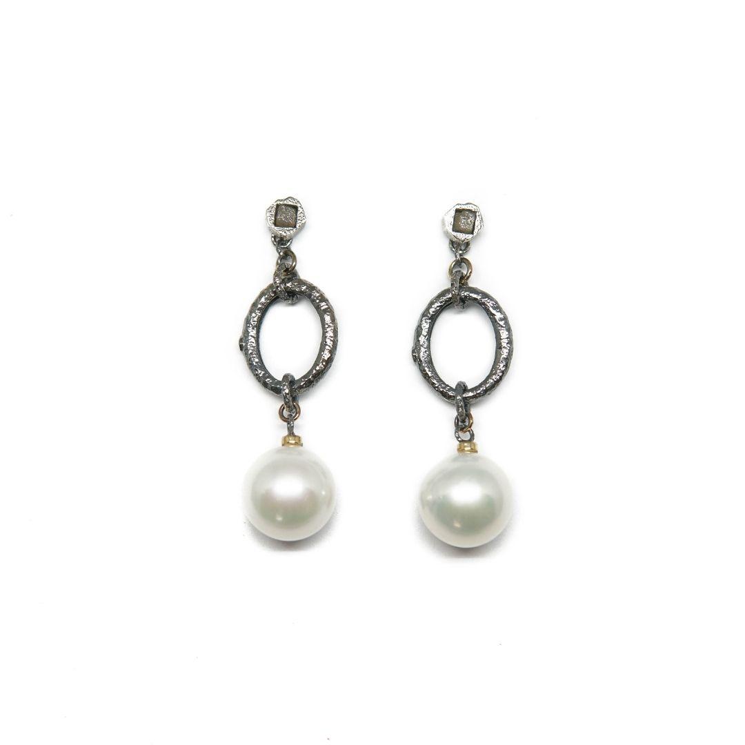 stay strong jewels Pendiente largo con perla australiana