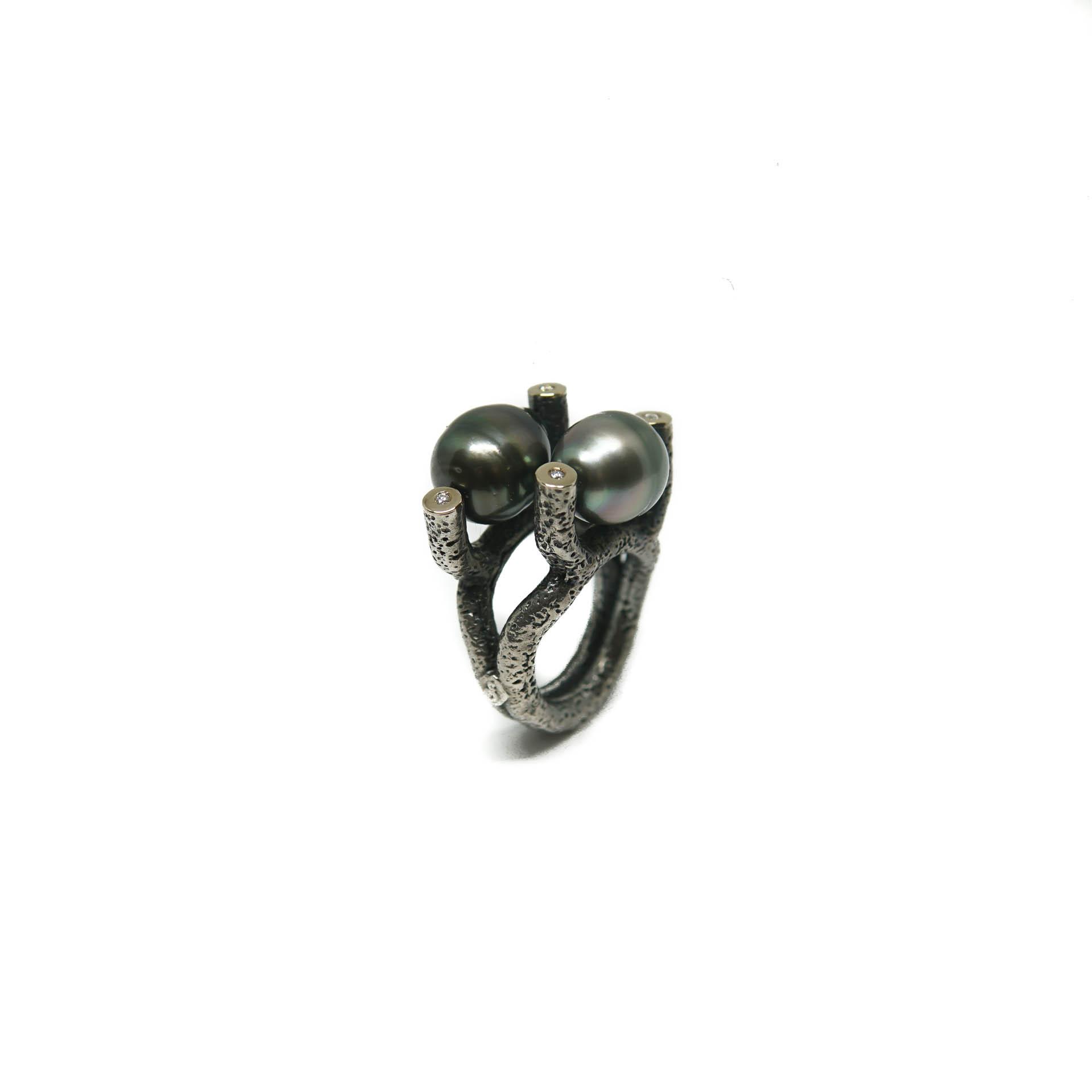 anillo de perlas tahiti